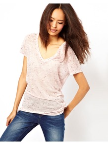 T Shirt With V Neck In Sheer Neppy - neckline: low v-neck; style: t-shirt; hip detail: fitted at hip; predominant colour: blush; occasions: casual; length: standard; fibres: polyester/polyamide - mix; fit: loose; sleeve length: short sleeve; sleeve style: standard; pattern type: fabric; pattern size: small & light; pattern: patterned/print; texture group: jersey - stretchy/drapey