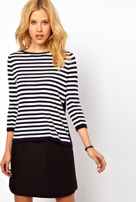 Stripe Slouch Jumper - neckline: round neck; pattern: horizontal stripes; style: standard; predominant colour: black; occasions: casual, evening, work; length: standard; fibres: cotton - 100%; fit: standard fit; sleeve length: 3/4 length; sleeve style: standard; pattern type: fabric; pattern size: standard; texture group: other - light to midweight