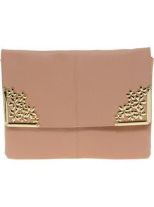 Clutch Bag With Flower Metal Corners - predominant colour: nude; occasions: casual, evening, occasion; type of pattern: light; style: clutch; length: hand carry; size: small; material: faux leather; pattern: plain; finish: plain; embellishment: chain/metal