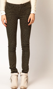 Faded Animal Print Skinny Jeans - style: skinny leg; length: standard; pocket detail: traditional 5 pocket; waist: mid/regular rise; predominant colour: khaki; occasions: casual; fibres: cotton - stretch; texture group: denim; pattern type: fabric; pattern size: small & busy; pattern: animal print