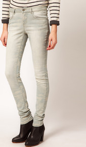 Army Skinny Jeans - style: skinny leg; length: standard; pattern: plain; pocket detail: traditional 5 pocket; waist: mid/regular rise; predominant colour: pistachio; occasions: casual; fibres: cotton - stretch; jeans detail: washed/faded; texture group: denim; pattern type: fabric; pattern size: big &amp; light