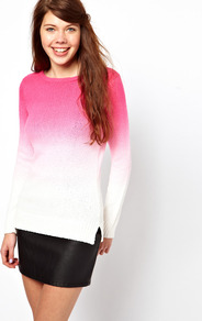 A Wear Dip Dye Jumper - neckline: round neck; style: standard; hip detail: fitted at hip; predominant colour: hot pink; occasions: casual; length: standard; fibres: cotton - 100%; fit: standard fit; sleeve length: long sleeve; sleeve style: standard; texture group: knits/crochet; pattern type: knitted - other; pattern size: standard; pattern: colourblock