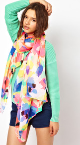 Hei Long Scarf - occasions: casual; predominant colour: multicoloured; type of pattern: large; style: regular; size: large; material: fabric; pattern: florals
