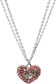 Pave Heart Necklace - predominant colour: pink; secondary colour: silver; occasions: evening, occasion; style: pendant; length: mid; size: standard; material: chain/metal; finish: metallic; embellishment: jewels