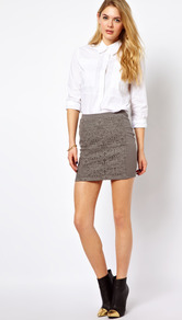 Lace Insert Mini Skirt - length: mini; fit: tailored/fitted; waist detail: elasticated waist; hip detail: fitted at hip; waist: mid/regular rise; predominant colour: taupe; occasions: casual, evening, work; style: mini skirt; fibres: polyester/polyamide - mix; texture group: lace; pattern type: fabric; pattern size: standard; pattern: patterned/print