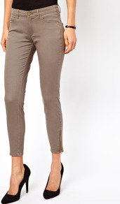 Coloured Skinny Jean - style: skinny leg; pattern: plain; pocket detail: traditional 5 pocket; waist: mid/regular rise; predominant colour: khaki; occasions: casual; length: ankle length; fibres: cotton - stretch; texture group: denim; pattern type: fabric