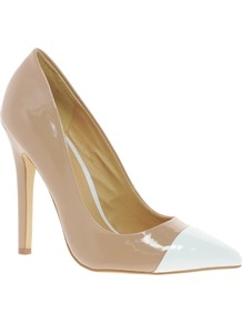 Proxy Pointed High Heels With Toe Cap - predominant colour: nude; occasions: evening, work, occasion; material: faux leather; heel height: high; heel: stiletto; toe: pointed toe; style: courts; finish: patent; pattern: colourblock