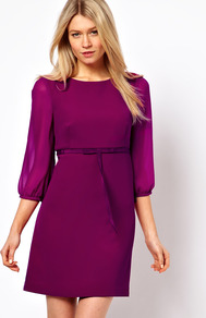 Tie Waist 60&#x27;s Dress With 3/4 Sleeves - style: shift; length: mid thigh; neckline: round neck; pattern: plain; sleeve style: balloon; hip detail: fitted at hip; waist detail: belted waist/tie at waist/drawstring; predominant colour: magenta; occasions: casual, evening, work, occasion; fit: soft a-line; fibres: polyester/polyamide - stretch; sleeve length: 3/4 length; texture group: sheer fabrics/chiffon/organza etc.; pattern type: fabric