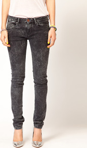 La Parisienne Jeans In Bleached Black - style: skinny leg; length: standard; pattern: plain; waist: low rise; pocket detail: traditional 5 pocket; predominant colour: charcoal; occasions: casual; fibres: cotton - stretch; jeans detail: washed/faded; texture group: denim; pattern type: fabric