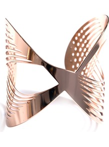 Infinity Cut Out Cuff - predominant colour: gold; occasions: evening, work, occasion, holiday; style: cuff; size: large/oversized; material: chain/metal; trends: metallics; finish: metallic
