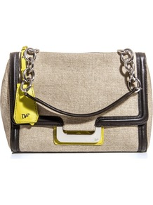 Harper Bag - secondary colour: yellow; predominant colour: taupe; occasions: casual, evening, work; type of pattern: light; style: shoulder; length: shoulder (tucks under arm); size: standard; material: fabric; finish: plain; pattern: colourblock