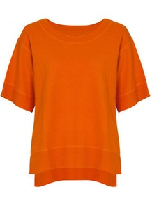 Aylina Orange Sweater - neckline: round neck; pattern: plain; style: standard; predominant colour: bright orange; occasions: casual, work; length: standard; fibres: wool - mix; fit: loose; back detail: longer hem at back than at front; sleeve length: short sleeve; sleeve style: standard; texture group: knits/crochet; pattern type: knitted - fine stitch; pattern size: standard