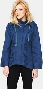 Ruched Parka Jacket, Blue - pattern: plain; length: standard; fit: loose; style: parka; predominant colour: navy; occasions: casual; fibres: cotton - 100%; collar: shirt collar/peter pan/zip with opening; sleeve length: long sleeve; sleeve style: standard; texture group: technical outdoor fabrics; collar break: high; pattern type: fabric
