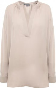 Nude Silk Long Sleeve Shirt - neckline: v-neck; pattern: plain; length: below the bottom; style: shirt; predominant colour: nude; occasions: casual, work; fibres: silk - 100%; fit: loose; sleeve length: long sleeve; sleeve style: standard; texture group: crepes; pattern type: fabric