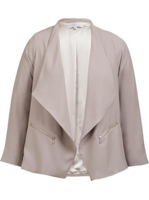 Sand Zip Detail Jacket - pattern: plain; style: single breasted blazer; collar: wide lapels; fit: loose; hip detail: front pockets at hip; predominant colour: stone; occasions: casual, evening, work; length: standard; fibres: polyester/polyamide - 100%; sleeve length: 3/4 length; sleeve style: standard; collar break: low/open; pattern type: fabric; texture group: other - light to midweight