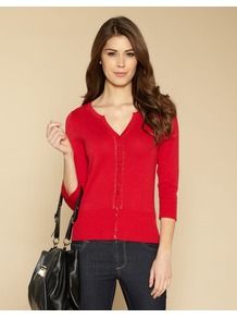 Nina Cardigan - neckline: round neck; predominant colour: true red; occasions: casual, work; length: standard; style: standard; fibres: cotton - 100%; fit: slim fit; sleeve length: 3/4 length; sleeve style: standard; texture group: knits/crochet; pattern type: knitted - other