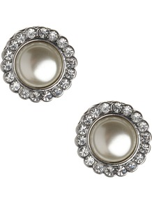 Santorini Stud Earring - predominant colour: silver; occasions: casual, evening, occasion; style: stud; length: short; size: standard; material: chain/metal; fastening: pierced; finish: plain; embellishment: pearls