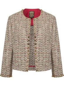 Women&#x27;s Summer Tweed Studded Jacket, Multi Coloured - collar: round collar/collarless; length: cropped; style: boxy; pattern: herringbone/tweed; predominant colour: stone; occasions: casual, evening, work, occasion; fit: straight cut (boxy); fibres: cotton - mix; sleeve length: long sleeve; sleeve style: standard; collar break: high; pattern type: fabric; pattern size: small &amp; busy; texture group: tweed - light/midweight