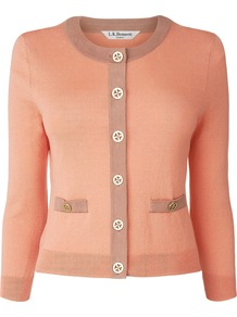 Women&#x27;s Bay Cardigan, Peach - neckline: round neck; shoulder detail: contrast pattern/fabric at shoulder; predominant colour: coral; occasions: casual, evening, work, occasion; length: standard; style: standard; fibres: silk - mix; fit: slim fit; waist detail: front pockets at waist level; sleeve length: 3/4 length; sleeve style: standard; texture group: knits/crochet; pattern type: knitted - fine stitch; pattern size: small &amp; light