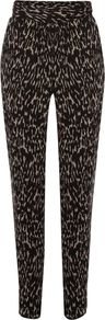 Women&#x27;s Animal Print Pj Trouser, Black &amp; White - length: standard; style: harem/slouch; waist detail: fitted waist; pocket detail: small back pockets, pockets at the sides; waist: mid/regular rise; predominant colour: black; occasions: casual, evening, work, holiday; fibres: polyester/polyamide - 100%; hip detail: fitted at hip (bottoms); texture group: crepes; trends: sporty redux, statement prints; fit: slim leg; pattern type: fabric; pattern size: small &amp; busy; pattern: animal print
