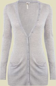 Women's Decadence Cardi, Grey - neckline: low v-neck; pattern: plain; length: below the bottom; hip detail: front pockets at hip; bust detail: buttons at bust (in middle at breastbone)/zip detail at bust; predominant colour: light grey; occasions: casual, work; style: standard; fibres: wool - mix; fit: standard fit; waist detail: fitted waist; shoulder detail: added shoulder detail; sleeve length: long sleeve; sleeve style: standard; texture group: knits/crochet; pattern type: knitted - fine stitch