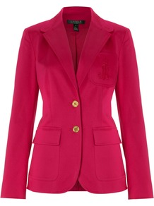 Women's Blazer Jacket With Crest, Pink - pattern: plain; style: single breasted blazer; bust detail: added detail/embellishment at bust; hip detail: front pockets at hip; collar: standard lapel/rever collar; predominant colour: hot pink; occasions: casual, evening, work; length: standard; fit: tailored/fitted; fibres: cotton - stretch; waist detail: fitted waist; back detail: back vent/flap at back; sleeve length: long sleeve; sleeve style: standard; trends: fluorescent; collar break: medium; pattern type: fabric; pattern size: standard; texture group: other - light to midweight