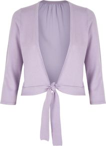 Women&#x27;s Lila Shrug, Lilac - neckline: low v-neck; style: bolero/shrug; length: cropped; back detail: contrast pattern/fabric at back; predominant colour: lilac; occasions: casual, evening, work, occasion; fibres: polyester/polyamide - 100%; fit: slim fit; waist detail: belted waist/tie at waist/drawstring; sleeve length: 3/4 length; sleeve style: standard; pattern type: fabric; texture group: jersey - stretchy/drapey