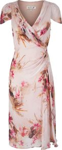 Women's Carrie Dress, Multi Coloured - style: faux wrap/wrap; neckline: v-neck; sleeve style: capped; pattern: plain; waist detail: twist front waist detail/nipped in at waist on one side/soft pleats/draping/ruching/gathering waist detail; bust detail: ruching/gathering/draping/layers/pintuck pleats at bust; predominant colour: blush; occasions: evening, occasion; length: on the knee; fit: body skimming; fibres: silk - 100%; hip detail: soft pleats at hip/draping at hip/flared at hip; shoulder detail: flat/draping pleats/ruching/gathering at shoulder; sleeve length: short sleeve; texture group: silky - light; trends: high impact florals, statement prints; pattern type: fabric; pattern size: small & light; embellishment: embroidered