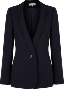 Women&#x27;s Siciliy Jacket, Navy - pattern: plain; style: single breasted blazer; collar: shawl/waterfall; predominant colour: navy; occasions: casual, evening, work; length: standard; fit: tailored/fitted; fibres: polyester/polyamide - stretch; waist detail: fitted waist; sleeve length: long sleeve; sleeve style: standard; collar break: low/open; pattern type: fabric; pattern size: standard; texture group: other - light to midweight