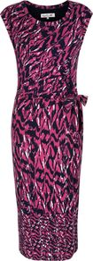 Women's Marni Dress, Multi Coloured - style: shift; length: calf length; neckline: round neck; sleeve style: capped; waist detail: belted waist/tie at waist/drawstring; predominant colour: magenta; secondary colour: navy; occasions: evening, occasion; fit: body skimming; fibres: viscose/rayon - stretch; sleeve length: sleeveless; texture group: jersey - clingy; pattern type: fabric; pattern size: big & busy; pattern: patterned/print