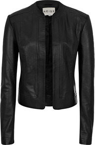 Bryony Cropped Leather Jacket - pattern: plain; style: biker; collar: standard biker; fit: slim fit; predominant colour: black; occasions: casual; length: standard; fibres: leather - 100%; sleeve length: long sleeve; sleeve style: standard; texture group: leather; collar break: high/illusion of break when open; pattern type: fabric