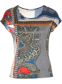Multicolored Printed Stretch Silk T Shirt - neckline: round neck; sleeve style: capped; style: t-shirt; hip detail: fitted at hip; predominant colour: navy; occasions: casual, evening, work; length: standard; fibres: silk - mix; fit: tailored/fitted; sleeve length: short sleeve; texture group: silky - light; trends: statement prints, modern geometrics; pattern type: fabric; pattern size: big &amp; busy; pattern: patterned/print