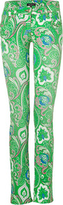 Apple Multi Paisley Print Jeans - style: straight leg; length: standard; pattern: paisley; pocket detail: traditional 5 pocket; waist: mid/regular rise; predominant colour: emerald green; occasions: casual; fibres: cotton - stretch; texture group: denim; trends: statement prints, modern geometrics; pattern type: fabric; pattern size: big & busy