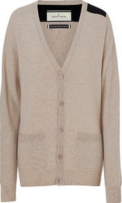Champagne Cashmere Sebastian Cardigan - neckline: low v-neck; pattern: plain; length: below the bottom; hip detail: front pockets at hip; shoulder detail: contrast pattern/fabric at shoulder; back detail: contrast pattern/fabric at back; predominant colour: stone; occasions: casual, work; style: standard; fit: loose; fibres: cashmere - 100%; sleeve length: long sleeve; sleeve style: standard; texture group: knits/crochet; pattern type: knitted - fine stitch