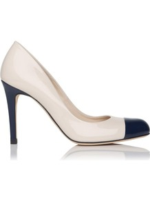 Bruton Toe Cap Leather Court Shoe Blue Navy - predominant colour: ivory; occasions: evening, work, occasion; material: leather; heel height: high; heel: stiletto; toe: round toe; style: courts; finish: patent; pattern: colourblock; embellishment: toe cap