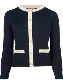 Bay Silk Cardigan Blue Navy - neckline: round neck; predominant colour: navy; occasions: casual, evening, work; length: standard; style: standard; fibres: silk - mix; fit: slim fit; waist detail: front pockets at waist level; sleeve length: long sleeve; sleeve style: standard; texture group: knits/crochet; pattern type: knitted - other; pattern size: standard
