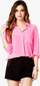 High Low Georgette Shirt - neckline: shirt collar/peter pan/zip with opening; pattern: plain; style: shirt; sleeve style: balloon; predominant colour: pink; occasions: casual, evening, work; length: standard; fibres: polyester/polyamide - 100%; fit: loose; back detail: longer hem at back than at front; sleeve length: 3/4 length; texture group: sheer fabrics/chiffon/organza etc.; pattern type: fabric; pattern size: standard
