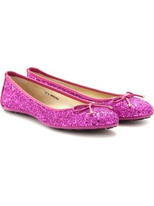 Walsh Glitter Ballerinas - predominant colour: hot pink; occasions: casual, evening, holiday; material: fabric; heel height: flat; embellishment: glitter; toe: round toe; style: ballerinas / pumps; trends: metallics; finish: metallic; pattern: plain