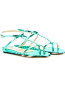 Fiona Snakeskin Sandals - predominant colour: mint green; occasions: casual, evening, holiday; material: leather; heel height: flat; ankle detail: ankle strap; heel: standard; toe: toe thongs; style: strappy; trends: metallics; finish: metallic; pattern: animal print