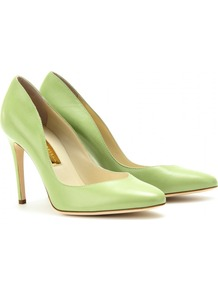 Winona Leather Pumps - predominant colour: lime; occasions: evening, work, occasion; material: leather; heel: stiletto; toe: pointed toe; style: courts; finish: plain; pattern: plain; heel height: very high
