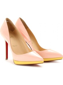 Pigalle Plato 120 Patent Leather Pumps - predominant colour: blush; secondary colour: primrose yellow; occasions: evening, occasion; material: leather; heel: platform; toe: pointed toe; style: courts; finish: patent; pattern: plain; heel height: very high