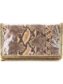 Falabella Shaggy Deer Flap Over Clutch - secondary colour: camel; predominant colour: taupe; occasions: evening; style: clutch; length: hand carry; size: standard; material: leather; pattern: animal print; finish: patent; embellishment: chain/metal