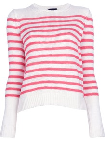 'Saida' Sweater - pattern: horizontal stripes; style: standard; predominant colour: white; secondary colour: hot pink; occasions: casual, holiday; length: standard; fibres: cotton - stretch; fit: standard fit; neckline: crew; sleeve length: long sleeve; sleeve style: standard; texture group: knits/crochet; pattern type: knitted - other; pattern size: standard