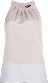 'Milka' Vest Top - pattern: plain; sleeve style: sleeveless; neckline: halter neck; predominant colour: stone; occasions: evening; length: standard; style: top; fit: straight cut; sleeve length: sleeveless; texture group: structured shiny - satin/tafetta/silk etc.; bust detail: tiers/frills/bulky drapes/pleats; pattern type: fabric; fibres: silk - stretch