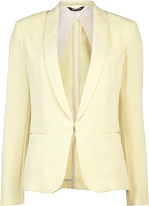 Sliver Tuxedo - pattern: plain; style: single breasted blazer; collar: shawl/waterfall; predominant colour: primrose yellow; occasions: evening; length: standard; fit: tailored/fitted; fibres: cotton - mix; sleeve length: long sleeve; sleeve style: standard; collar break: medium; pattern type: fabric; texture group: woven light midweight