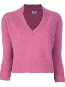 'Monroe' Sweater - neckline: v-neck; pattern: plain; length: cropped; style: standard; predominant colour: magenta; occasions: casual, work; fibres: wool - 100%; fit: standard fit; sleeve length: 3/4 length; sleeve style: standard; texture group: knits/crochet; pattern type: knitted - fine stitch