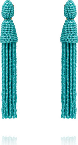 Turquoise Beaded Long Tassel Earrings - predominant colour: turquoise; occasions: evening, occasion; style: drop; length: long; size: large/oversized; material: plastic/rubber; fastening: pierced; finish: plain; embellishment: tassels