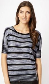 Blue Spacedye Striped Jumper - neckline: round neck; sleeve style: dolman/batwing; pattern: horizontal stripes; style: standard; predominant colour: navy; occasions: casual, work; length: standard; fibres: polyester/polyamide - 100%; fit: standard fit; sleeve length: short sleeve; texture group: knits/crochet; pattern type: knitted - fine stitch; pattern size: standard