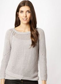 Mauve Knit Jumper - neckline: round neck; pattern: plain; bust detail: sheer at bust; style: standard; shoulder detail: contrast pattern/fabric at shoulder; predominant colour: lilac; occasions: casual, work; length: standard; fibres: acrylic - mix; fit: standard fit; back detail: embellishment at back; sleeve length: long sleeve; sleeve style: standard; texture group: knits/crochet; pattern type: knitted - other; pattern size: small & light