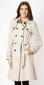 Beige Piped Trench Coat - pattern: plain; shoulder detail: obvious epaulette; hip detail: side pockets at hip; style: trench coat; length: on the knee; predominant colour: ivory; occasions: casual, evening, work; fit: tailored/fitted; fibres: polyester/polyamide - stretch; collar: shirt collar/peter pan/zip with opening; waist detail: belted waist/tie at waist/drawstring; sleeve length: long sleeve; sleeve style: standard; texture group: cotton feel fabrics; collar break: high; pattern type: fabric